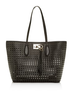 Salvatore Ferragamo - Studio Small Laser-Cut Leather Tote