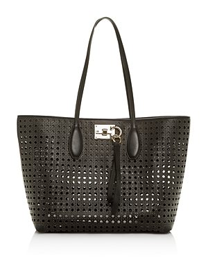Salvatore Ferragamo Small Studio Laser-Cut Leather Tote