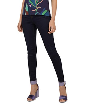 73f6245afcfd5 Ted Baker - Rebacco Tobacco-Stitched Skinny Jeans in Dark Blue ...