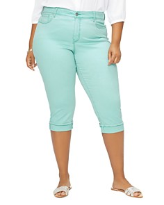 NYDJ Plus - Marilyn Cuffed Cropped Jeans in Blue Daisy