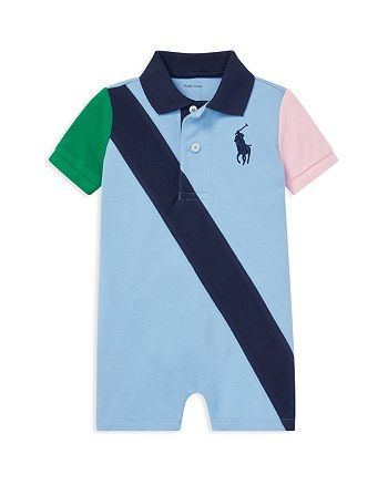 Ralph Lauren - Boys' Color-Block Cotton Mesh Polo Shortall - Baby