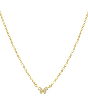 "AQUA - Small Embellished Butterfly Pendant Necklace in 14K Gold-Plated Sterling Silver or Sterling Silver, 16"" - 100% Exclusive"