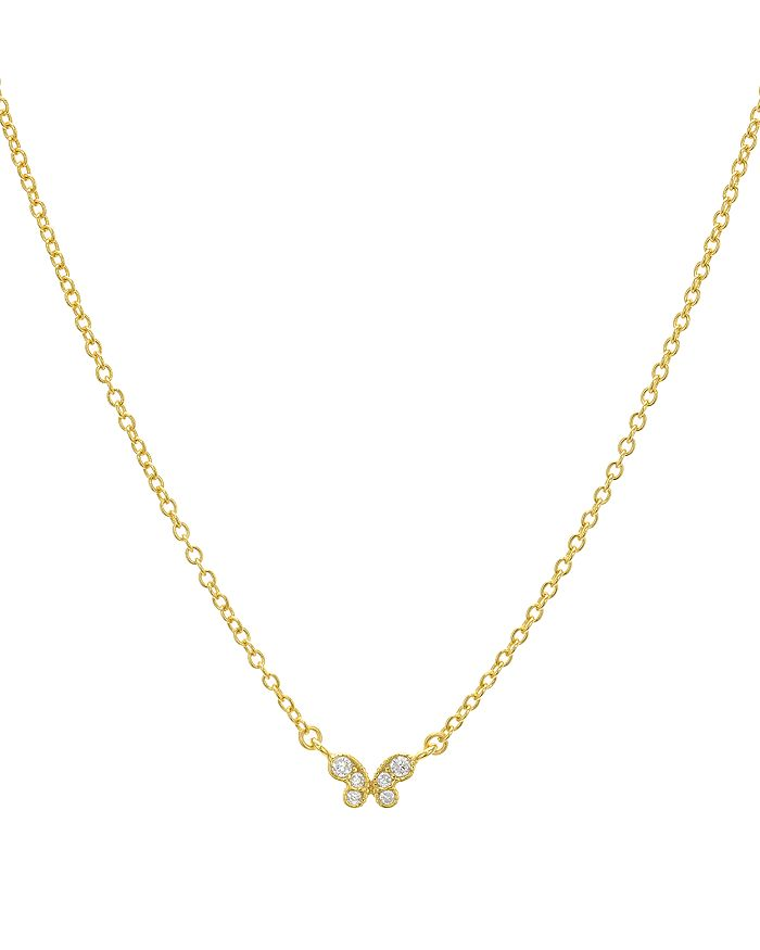 """AQUA - Small Embellished Butterfly Pendant Necklace in 14K Gold-Plated Sterling Silver or Sterling Silver, 16"""" - 100% Exclusive"""