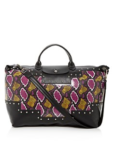 Longchamp - Le Pliage Python-Embossed Leather Duffel Bag