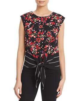 Kim & Cami - Sleeveless Printed Tie-Front Top