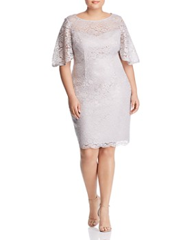 fc043246d3f Adrianna Papell Plus - Lace Flutter-Sleeve Dress ...