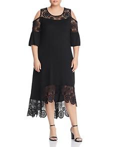Cupio Plus - Lace-Trim Cold-Shoulder High/Low Dress