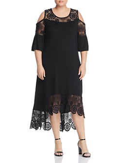 Cupio Plus - Lace-Trim Cold-Shoulder High/Low Dress