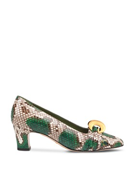 Gucci - Women's Python Half Moon GG Mid-Heel Pumps