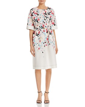 e445b82b6af DKNY - Belted Floral-Printed Button-Front Dress ...