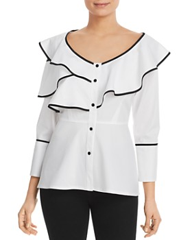 99967b5ef79 DKNY - Icons Contrast-Trimmed Ruffled Blouse ...