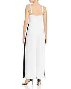 AQUA - Track-Stripe Sleeveless Jumpsuit - 100% Exclusive