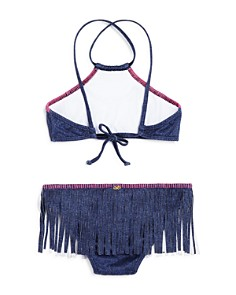 PilyQ - Girls' Denim High Neck Fringe Two-Piece Swimsuit - Little Kid, Big Kid