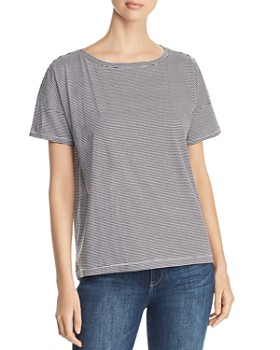Eileen Fisher Petites -  Striped Organic Cotton Tee
