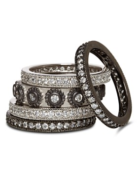 Freida Rothman - Studded Stackable Rings in Rhodium-Plated & Platinum-Plated Sterling Silver, Set of 5