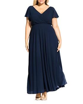 City Chic Plus - Flutter Sleeve Maxi Dress