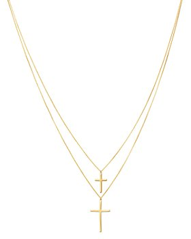 "Moon & Meadow - Double-Layer Cross Pendant Necklace in 14K Yellow Gold, 18"" - 100% Exclusive"