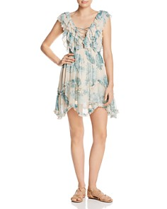 Rococo Sand - Lace-Up Mini Dress