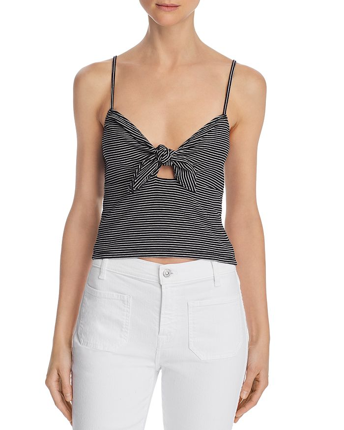 Re:Named - Lena Striped Ribbed Tie-Front Top