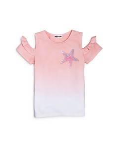 Mini Series - Girls' Dip-Dyed Star Cold-Shoulder Tee, Little Kid - 100% Exclusive