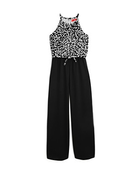 AQUA - Girls' Leopard Print Cold-Shoulder Jumpsuit, Big Kid - 100% Exclusive