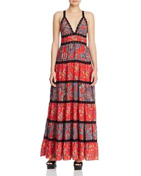 Alice and Olivia - Karolina Tiered Mixed Floral Maxi Dress ... c0d2ce5d9