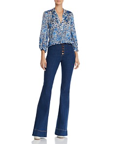 Alice and Olivia - Sheila Blouson-Sleeve Floral Top