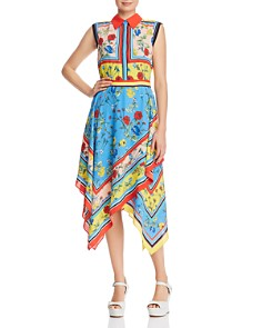 Alice and Olivia - Farrah Mixed Floral Collared Dress
