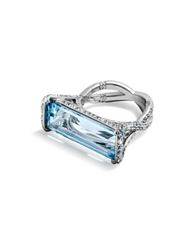 JOHN HARDY - 18K White Gold Cinta Aquamarine Ring with Diamonds & Swiss Blue Topaz - 100% Exclusive