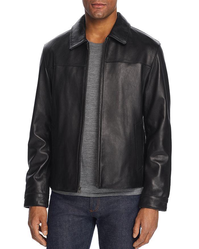 Cole Haan - Leather Zip-Front Jacket