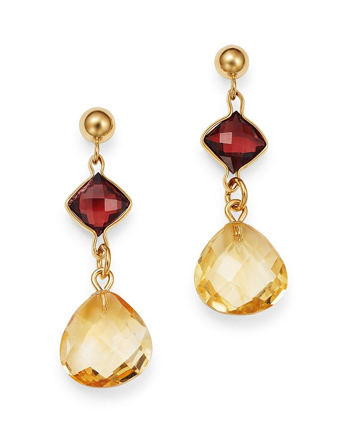 Bloomingdale's - Citrine & Garnet Drop Earrings in 14K Yellow Gold - 100% Exclusive