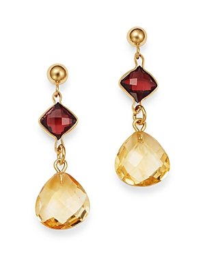 Bloomingdale\\\'s Citrine & Garnet Drop Earrings in 14K Yellow Gold - 100% Exclusive-Jewelry & Accessories