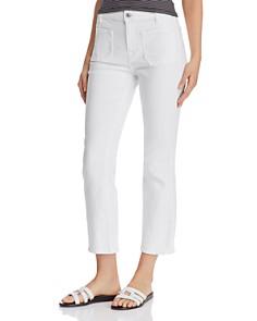 7 For All Mankind - High Waist Slim Kick Jeans in White Runway Denim