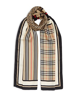 Burberry - Logo & Check Silk Scarf