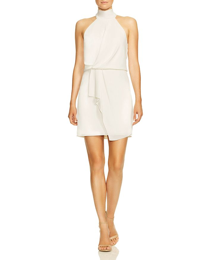 HALSTON - Mock-Neck Mini Dress