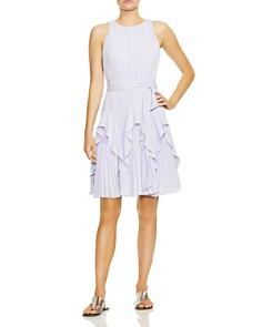 HALSTON HERITAGE - Pleated Fit-and-Flare Dress