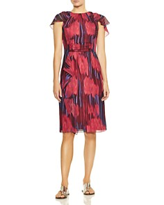 HALSTON HERITAGE - Flutter Cape Sleeve Dress