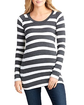 Nom Maternity - Phoebe Striped Long-Sleeve Maternity Tee