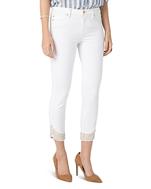 Liverpool Abby Embroidered Cropped Skinny Jeans in Bright White-Women