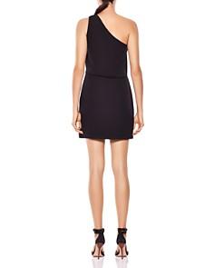 HALSTON HERITAGE - One-Shoulder Color-Block Ruffled Dress
