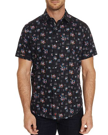 Robert Graham - Castleden Short-Sleeve Embroidered Floral-Print Classic Fit Shirt