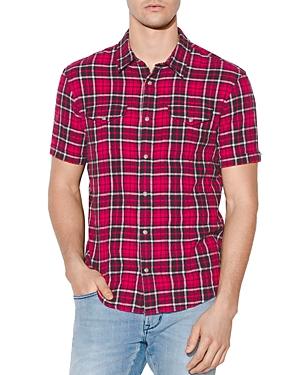 John Varvatos T-shirts DENTON SHORT-SLEEVE PLAID REGULAR FIT SHIRT