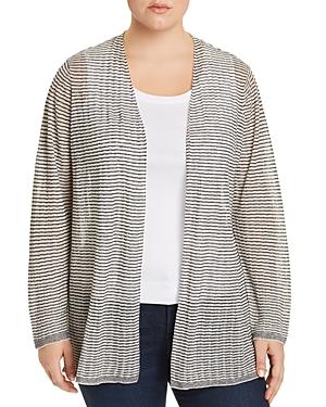 Eileen Fisher Plus Striped Open Cardigan