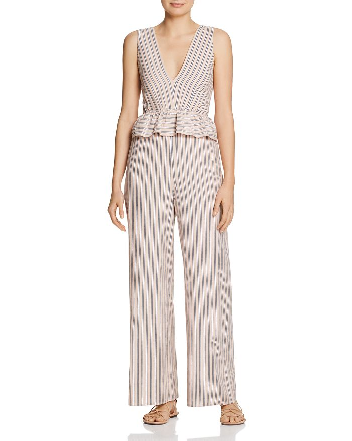 Saylor - Striped Jumpsuit with Peplum