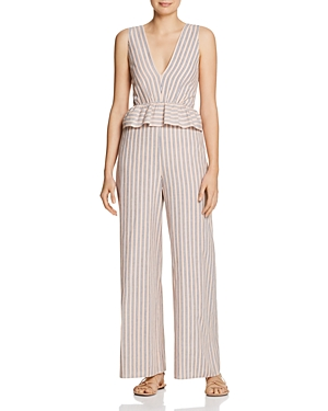 Saylor Suits STRIPED JUMPSUIT WITH PEPLUM
