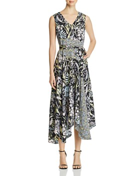 8021e350622 Calvin Klein - Mixed-Print Handkerchief-Hem Dress ...