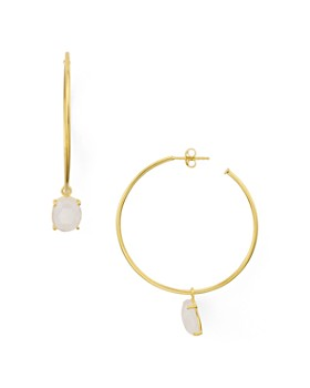 Argento Vivo - Stone Hoop Earrings in 14K Gold-Plated Sterling Silver