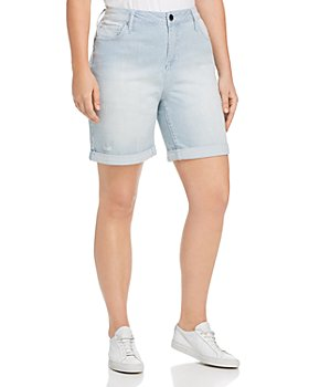 Seven7 Jeans Plus - Weekend Bermuda Striped Denim Shorts in Magnetic