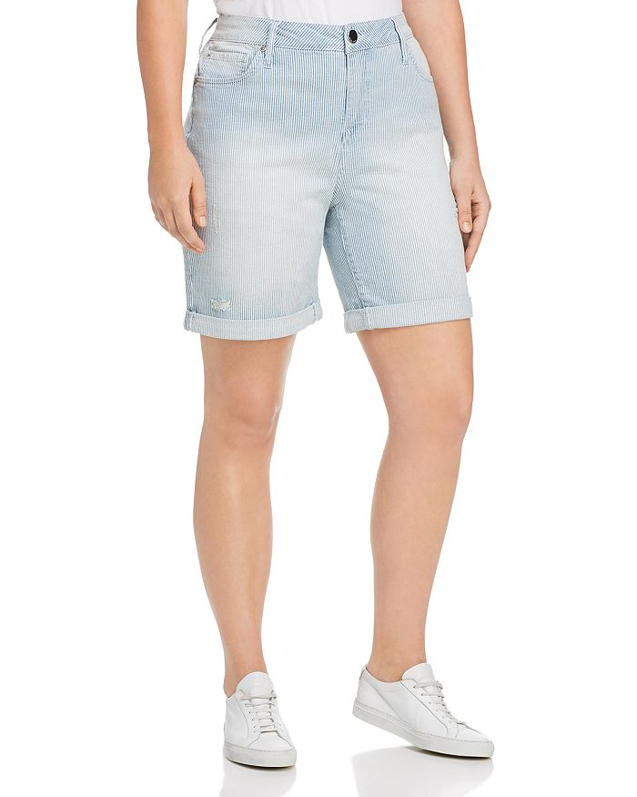 Seven7 Jeans Plus - Weekend Bermuda Striped Denim Shorts in Magnetic