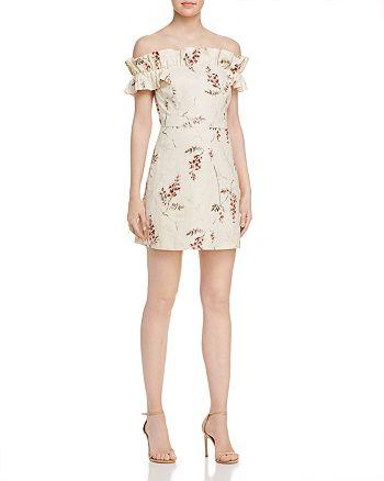 Rebecca Taylor - Ivie Fleur Off-the-Shoulder Embroidered Dress